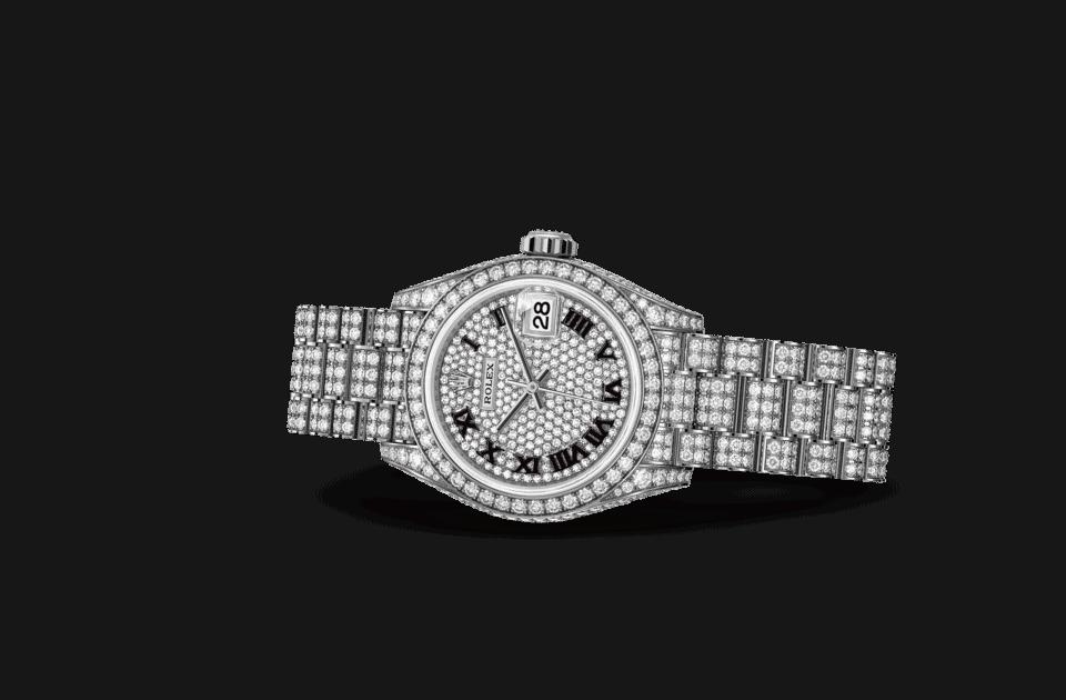 Rolex Lady-Datejust Oyster, 28 mm, emas putih dan berlian m279459rbr-0001